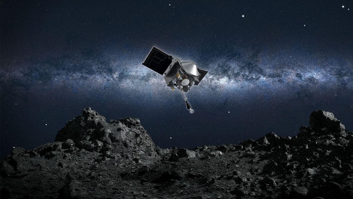 Artist's concept of OSIRIS-REx above asteroid Bennu