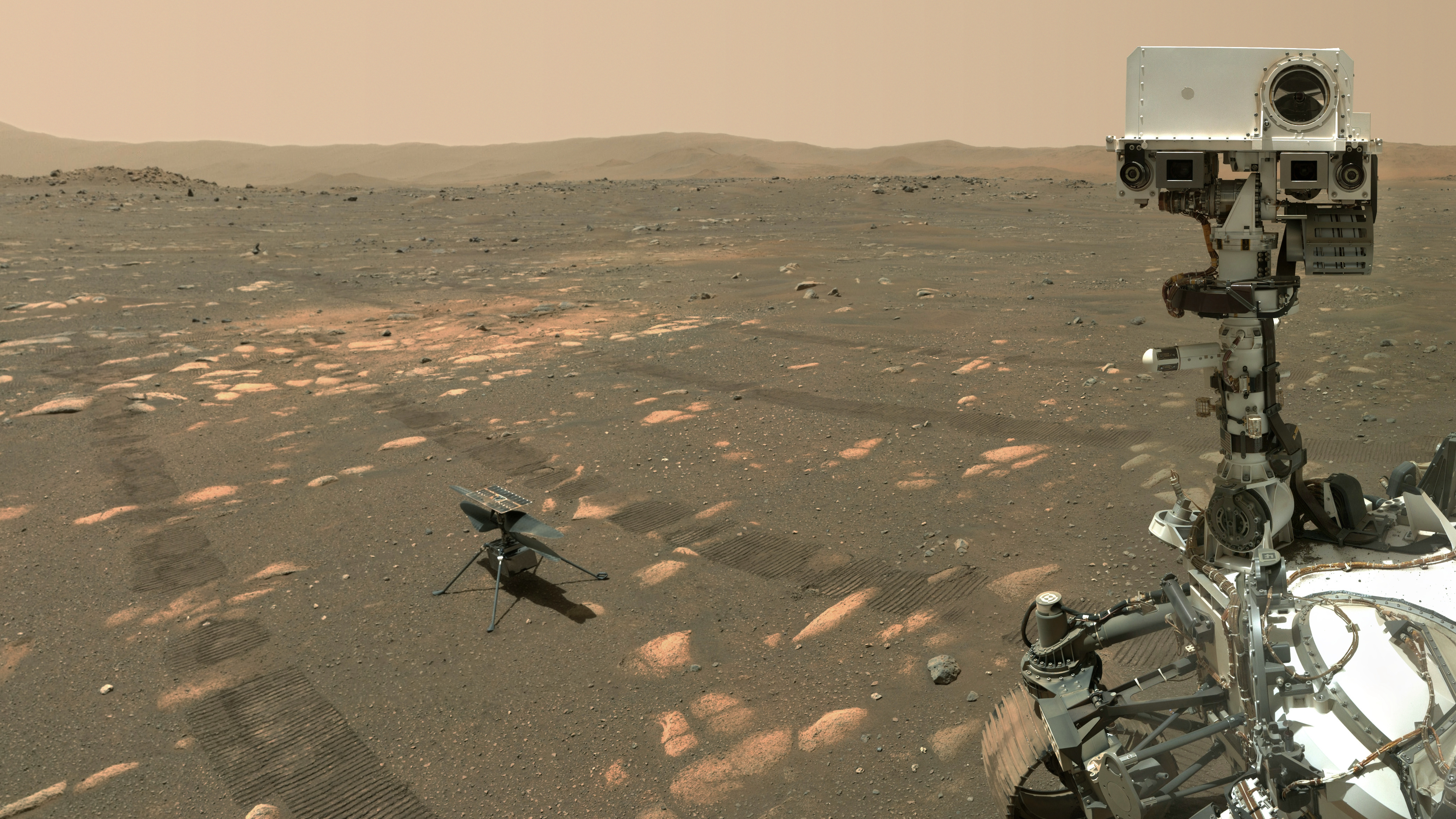 NASA's Perseverance rover takes a selfie with the Ingenuity helicopter