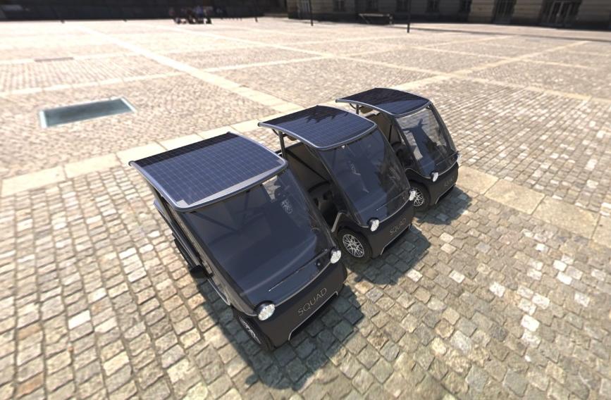 Squad's tiny $6,300 solar EV shares and shuttles through the city