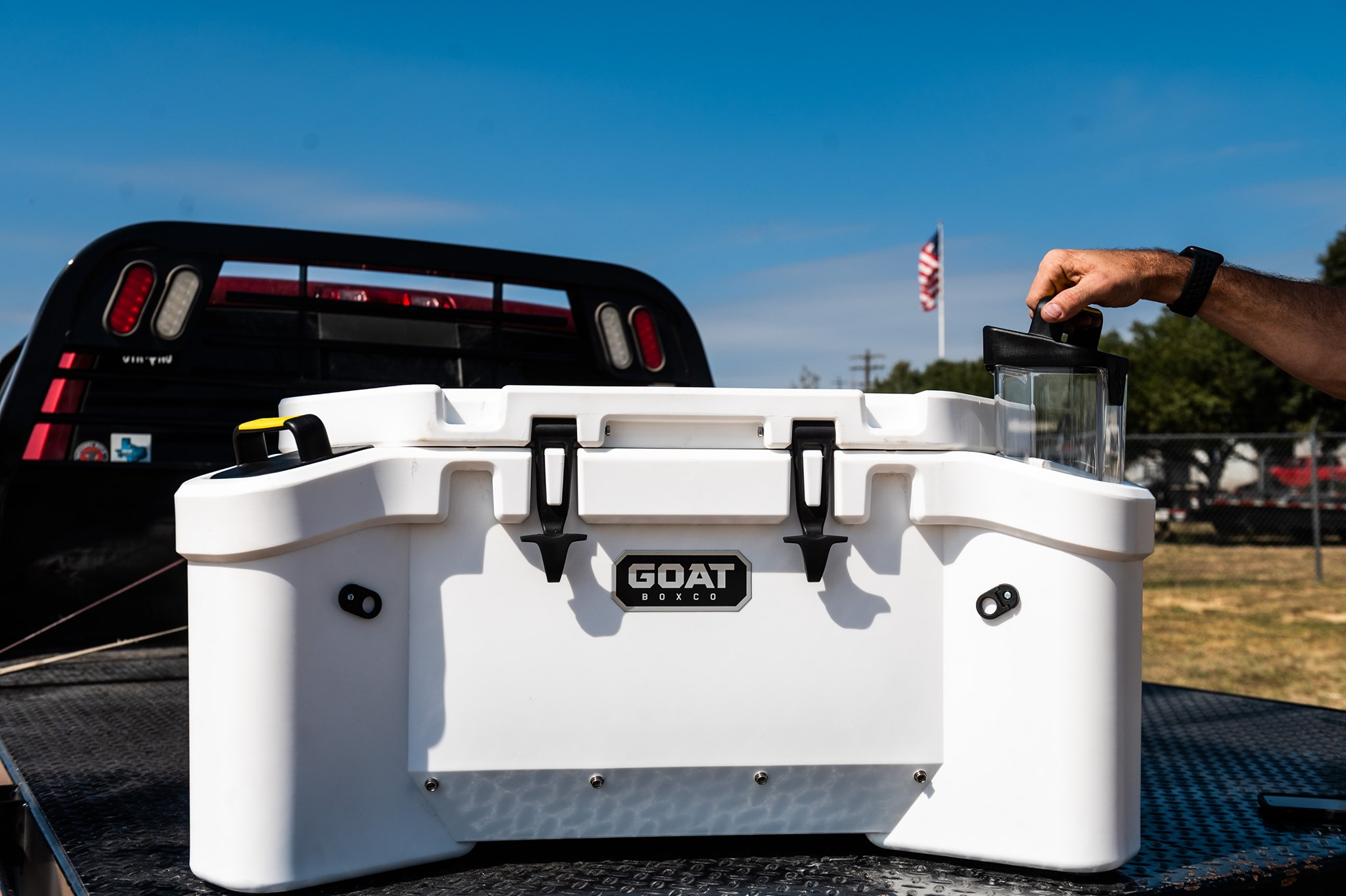 The Goat Hub 70 cooler comes with a storage twist