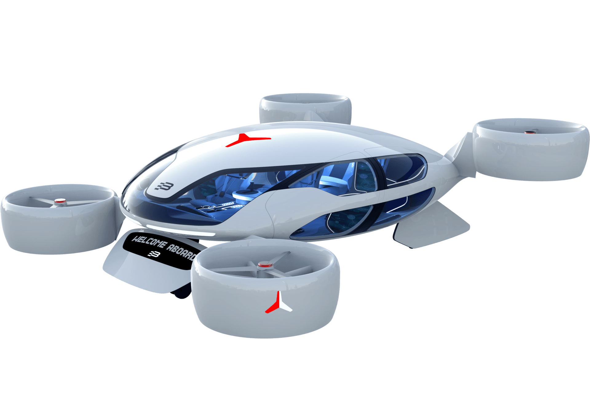 Bartini's eVTOL design, with eight tilting, coaxial ducted rotors, promises 550-km (342-mi) ranges and 300-km/h (186-mph) speeds thanks to HyPoint's turbo air-cooled hydrogen fuel cell powertrains