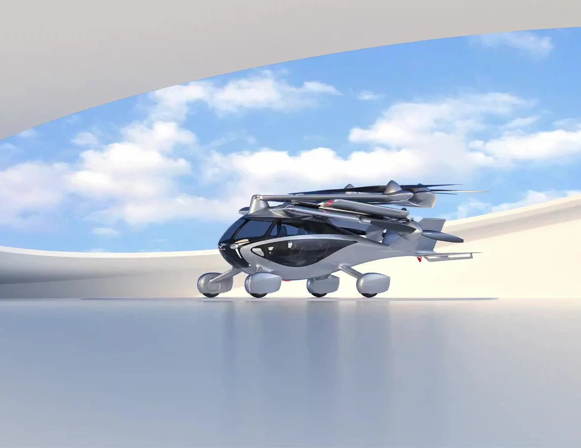 The Aska is a four-seat street-legal car concept that auto-folds out into a six-rotor transitioning eVTOL