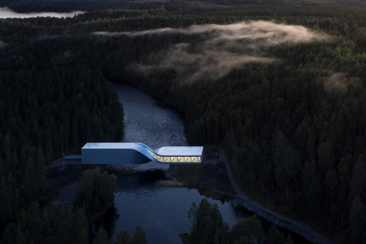 BIG's twisting museum bridges a river in Norway