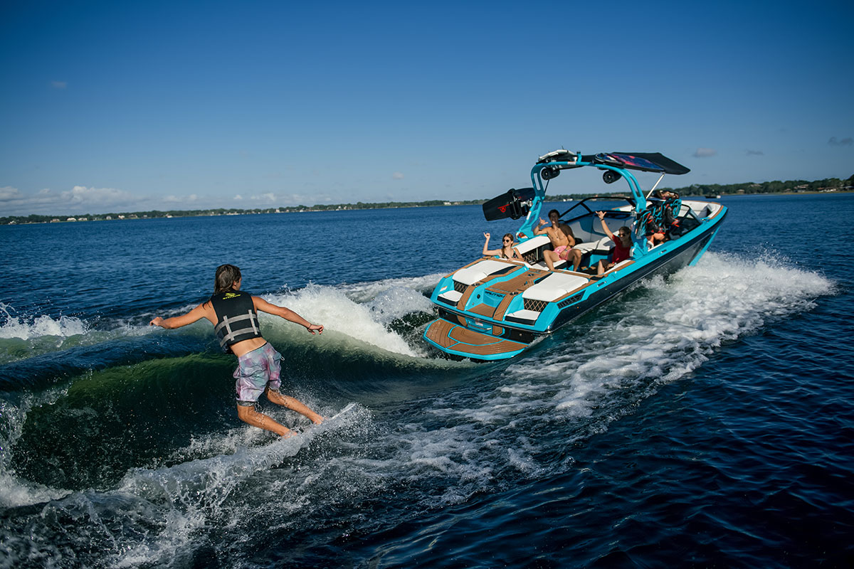 The added weight of the electric system makes for bigger and better wakes for board riders