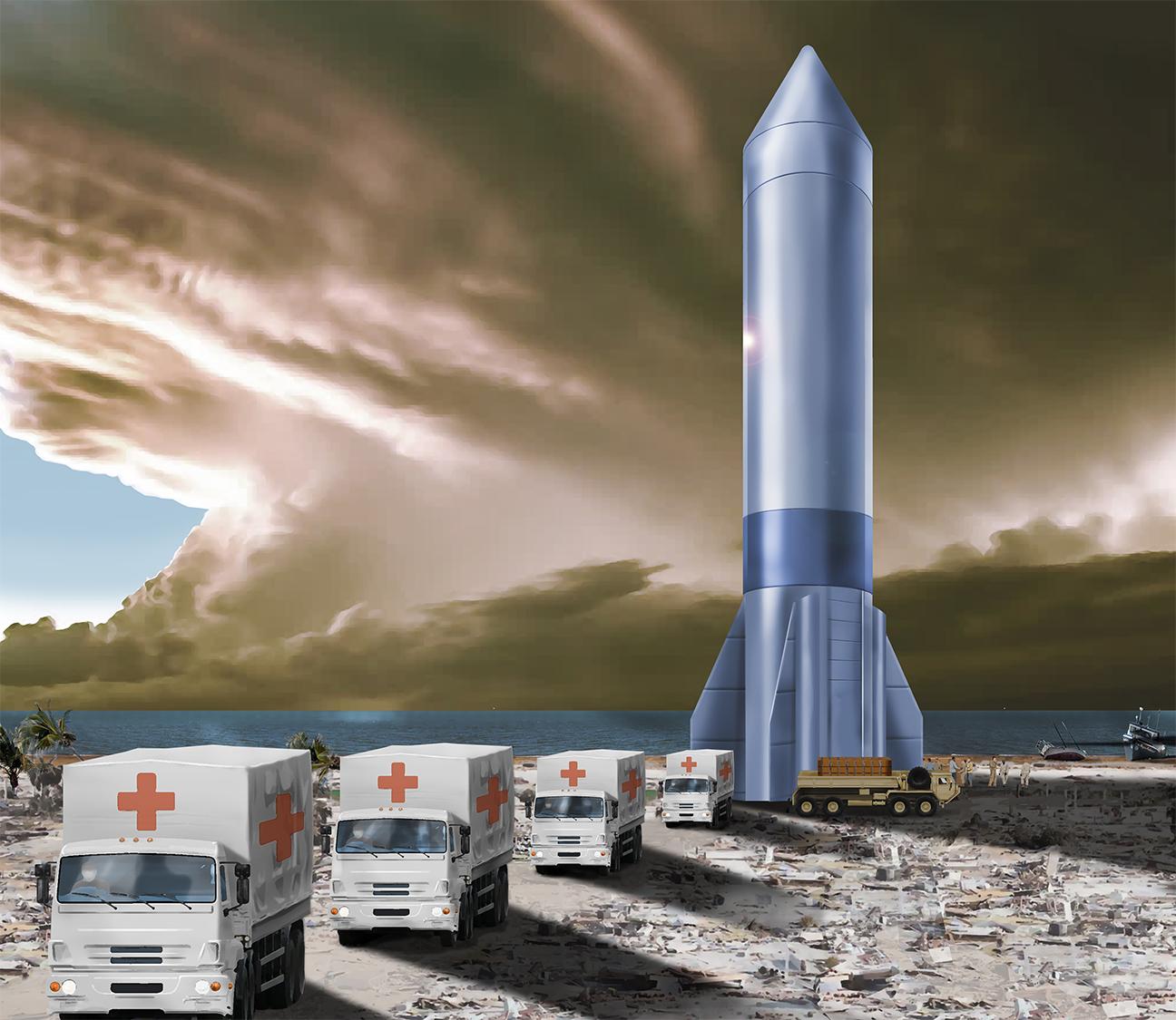 Artist's concept of a cargo rocket delivering medical supplies