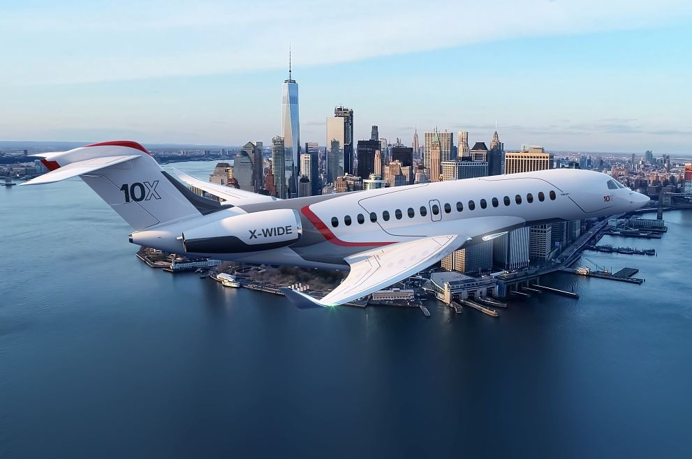 The Dassault Falcon 10X can fly 7,500 nautical miles on a single load of fuel