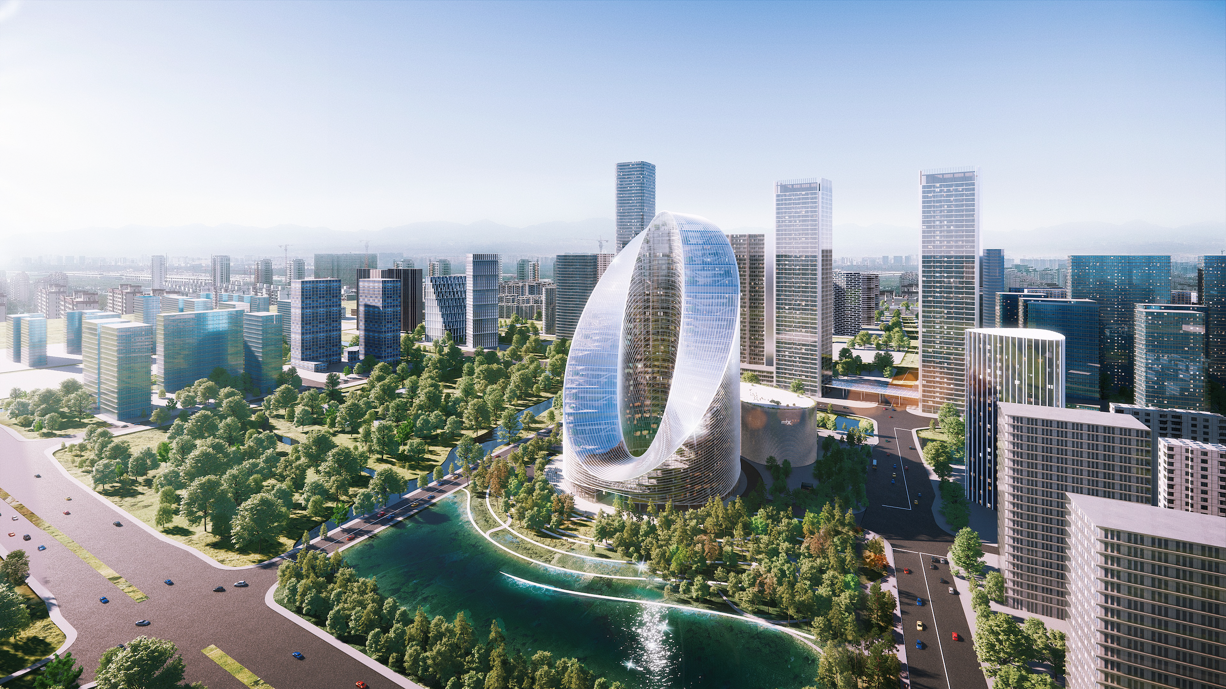 The O-Tower is slated for Hangzhou, on a prominent site between a natural lake, an urban center, and a park