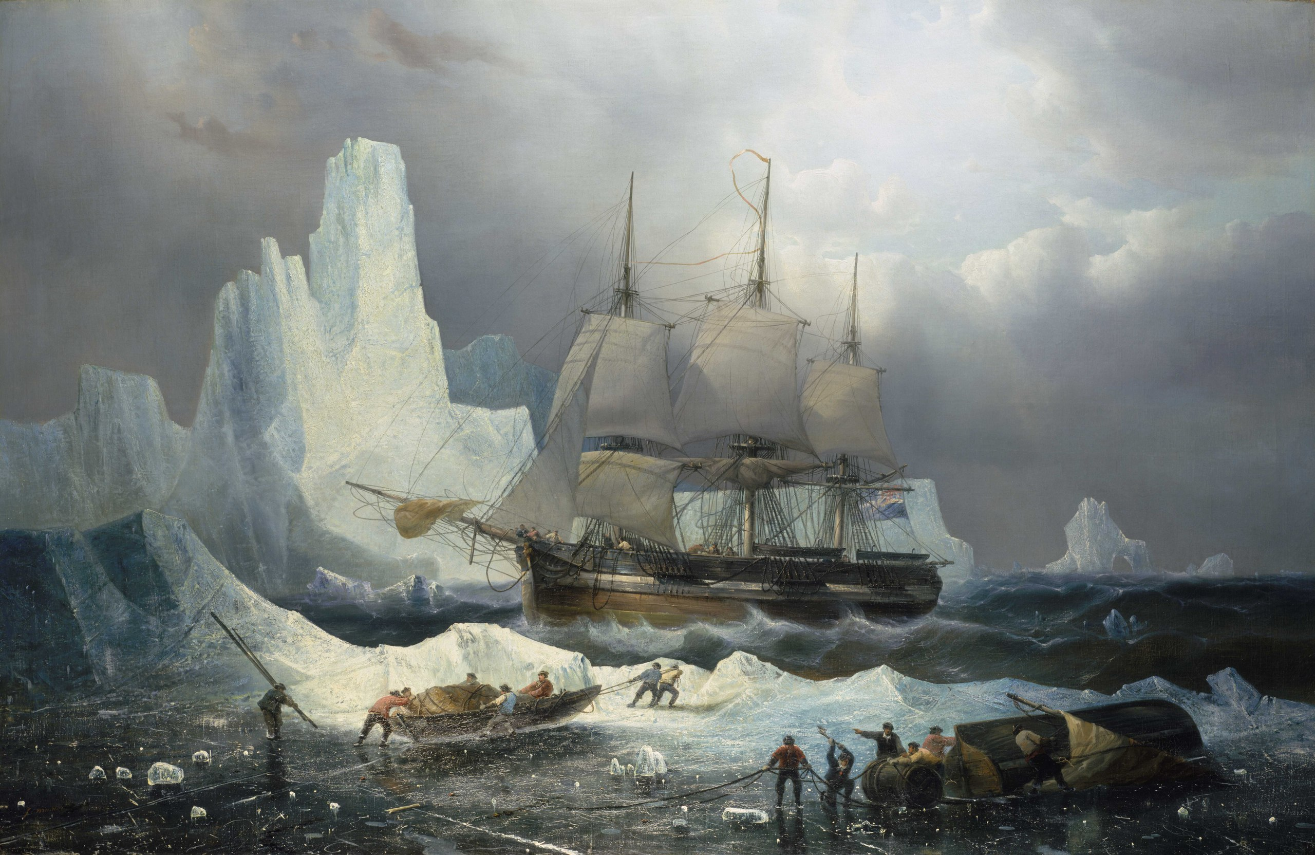 A painting of the HMS Erebus, aboard which John Gregory served as an engineer