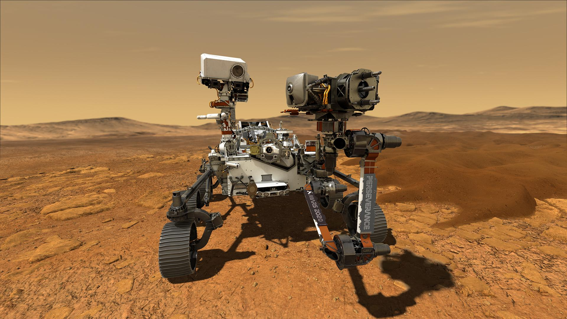 Artist's impression of the Perseverance rover on the surface of Mars