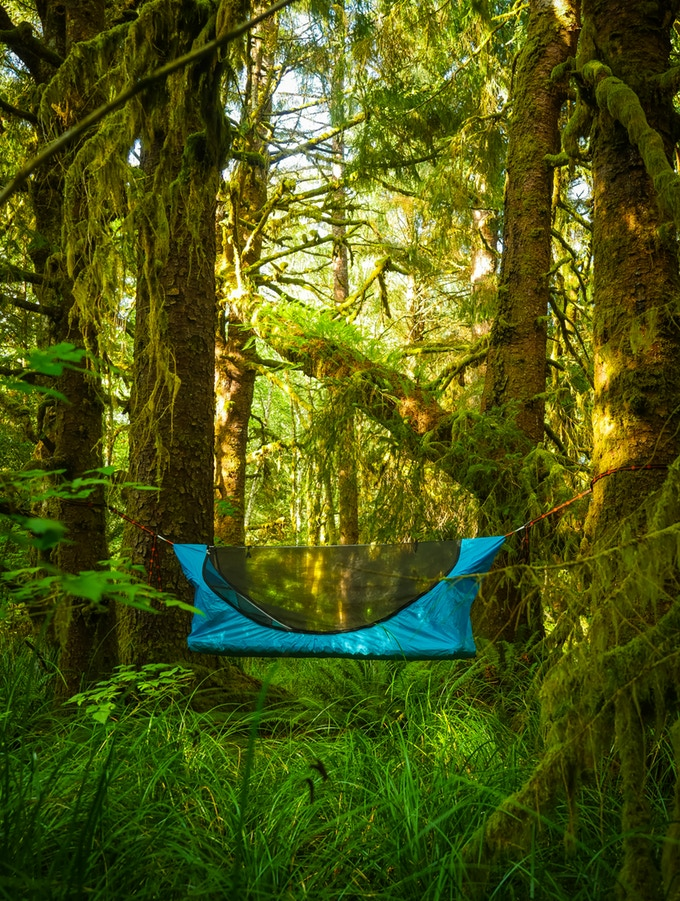 Haven Tent hammock offers campers a hanging flat bed