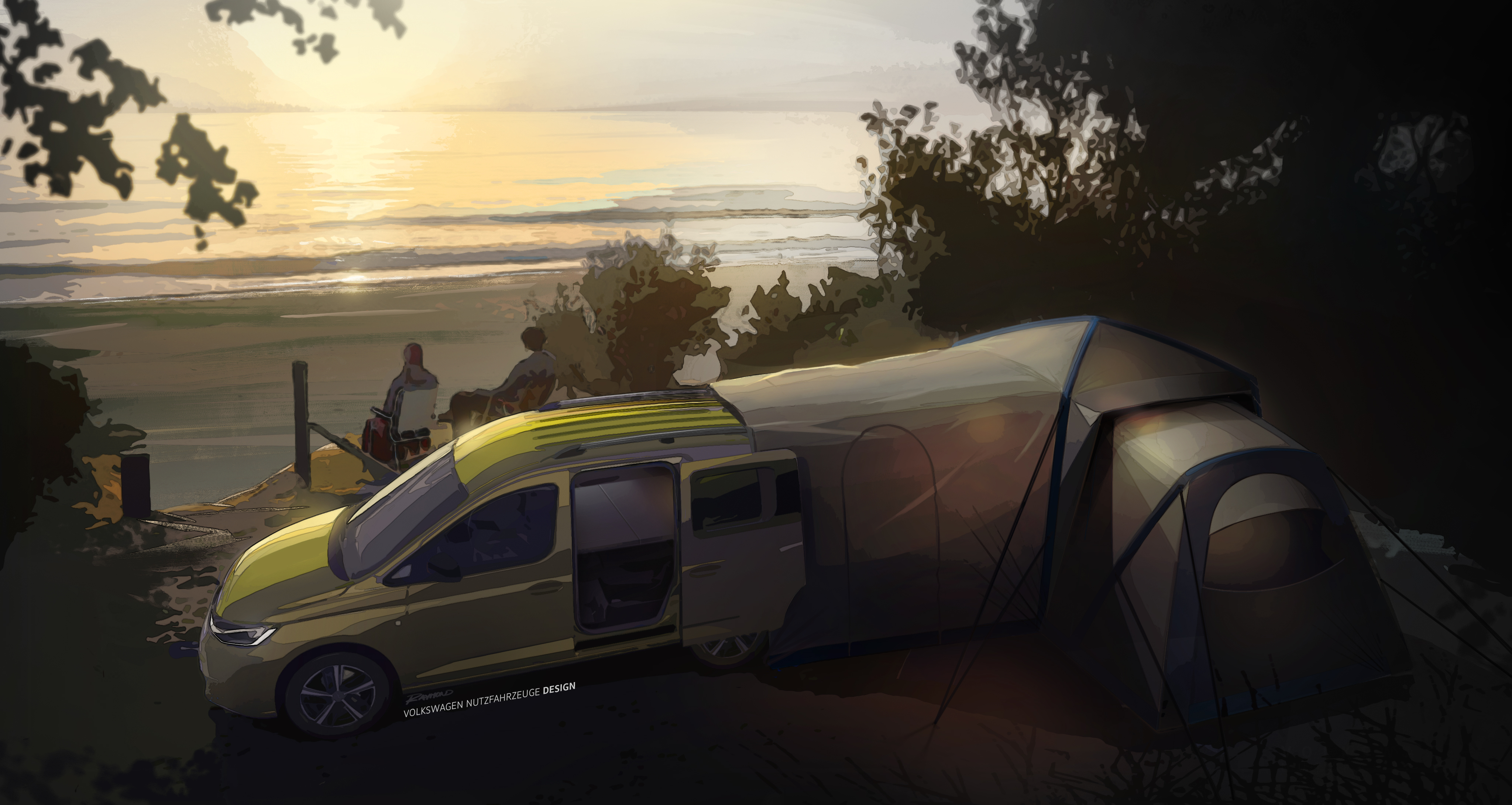Volkswagen teases the expandable tent system of its new Caddy Mini-Camper