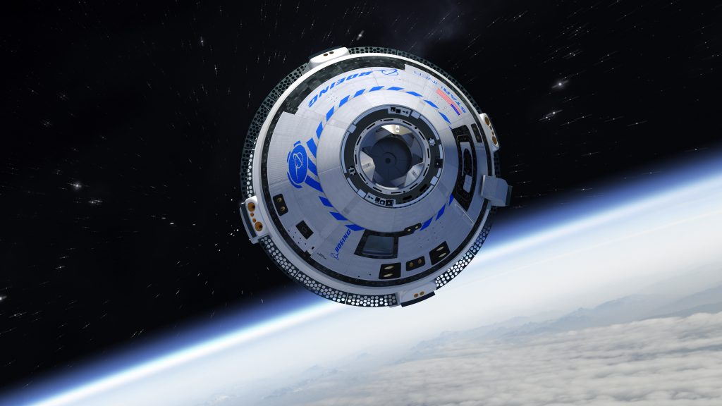 An artist's impression showing the Boeing Starliner capsule in orbit