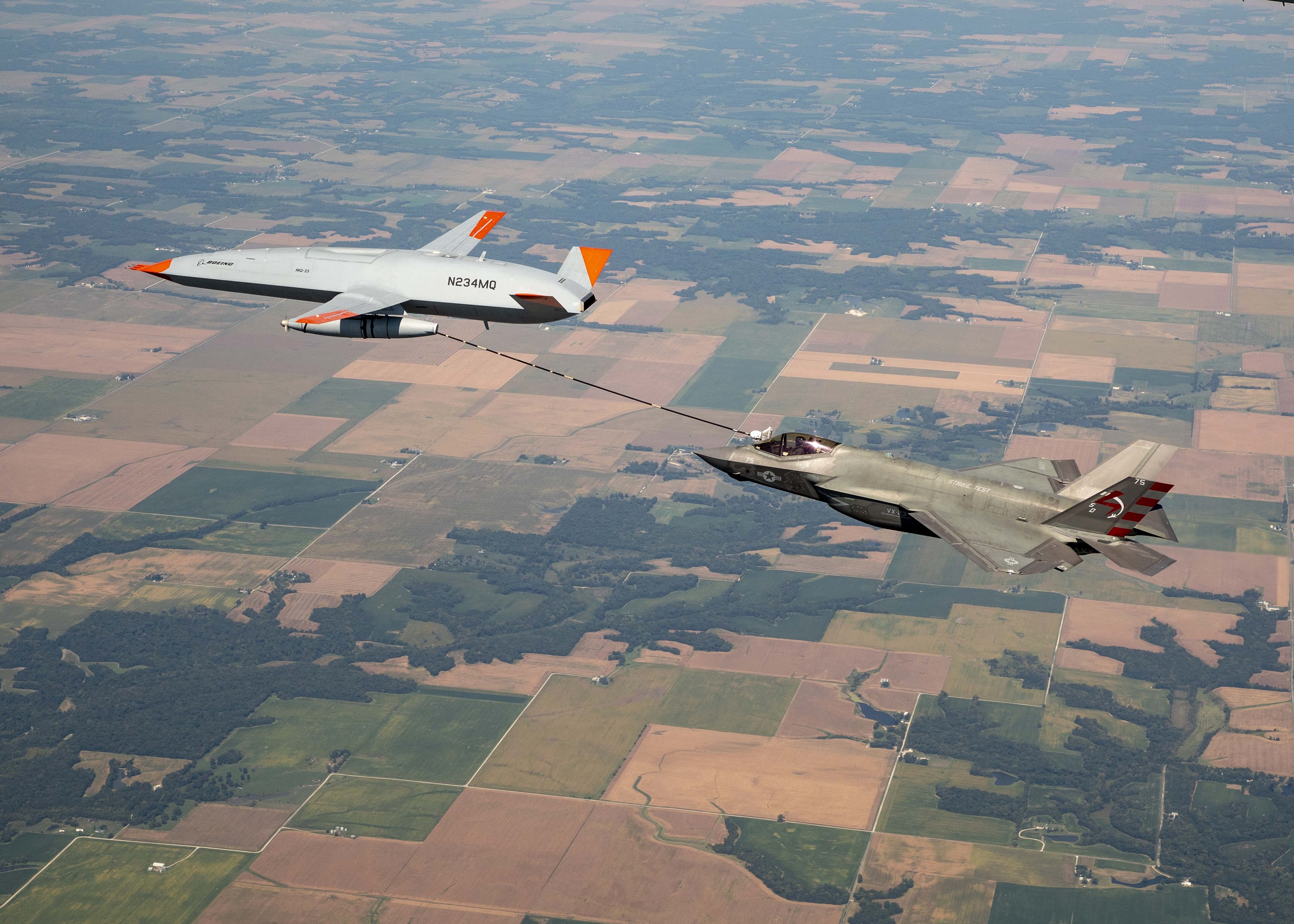 The F-35C taking on fuel from the MQ-25