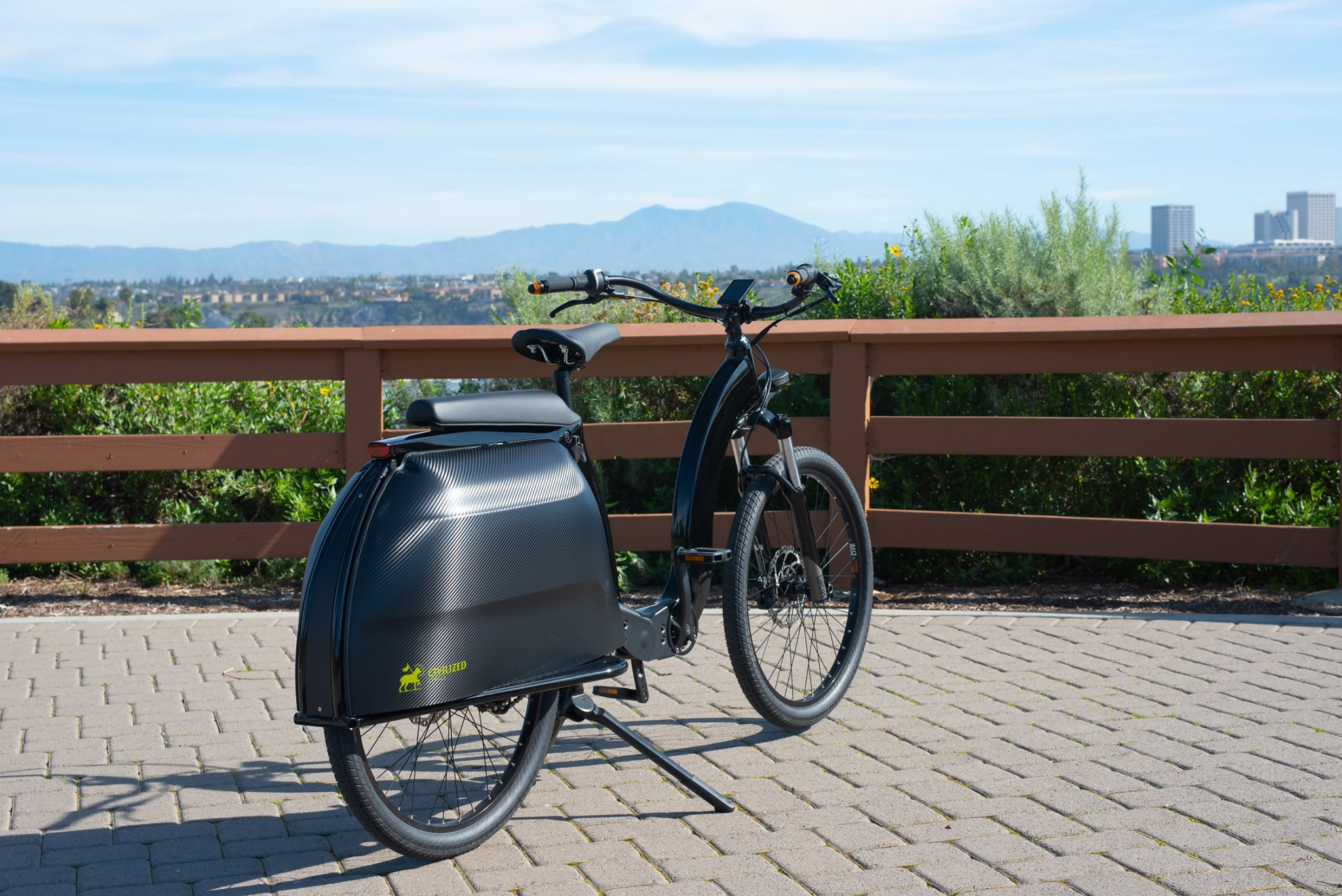 The integrated carbon fiber panniers can haul 50 lb of cargo