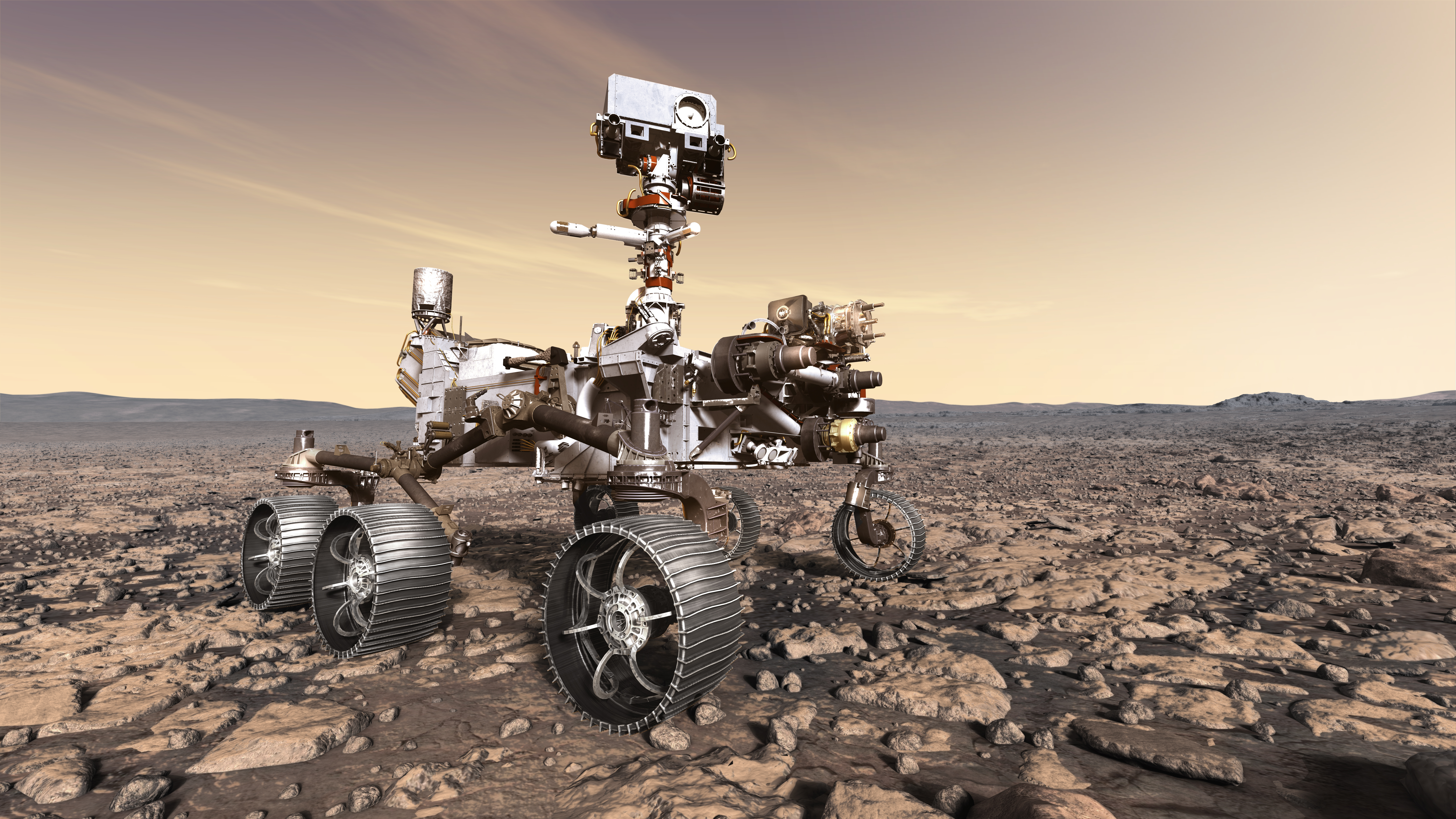 An artist's impression of the Perseverance rover landed at Jezero Crater