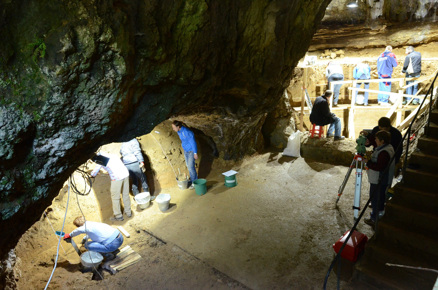 Archeologists excavate Bacho Kiro Cave in Bulgaria, where three modern human specimens were found to have recent Neanderthal DNA