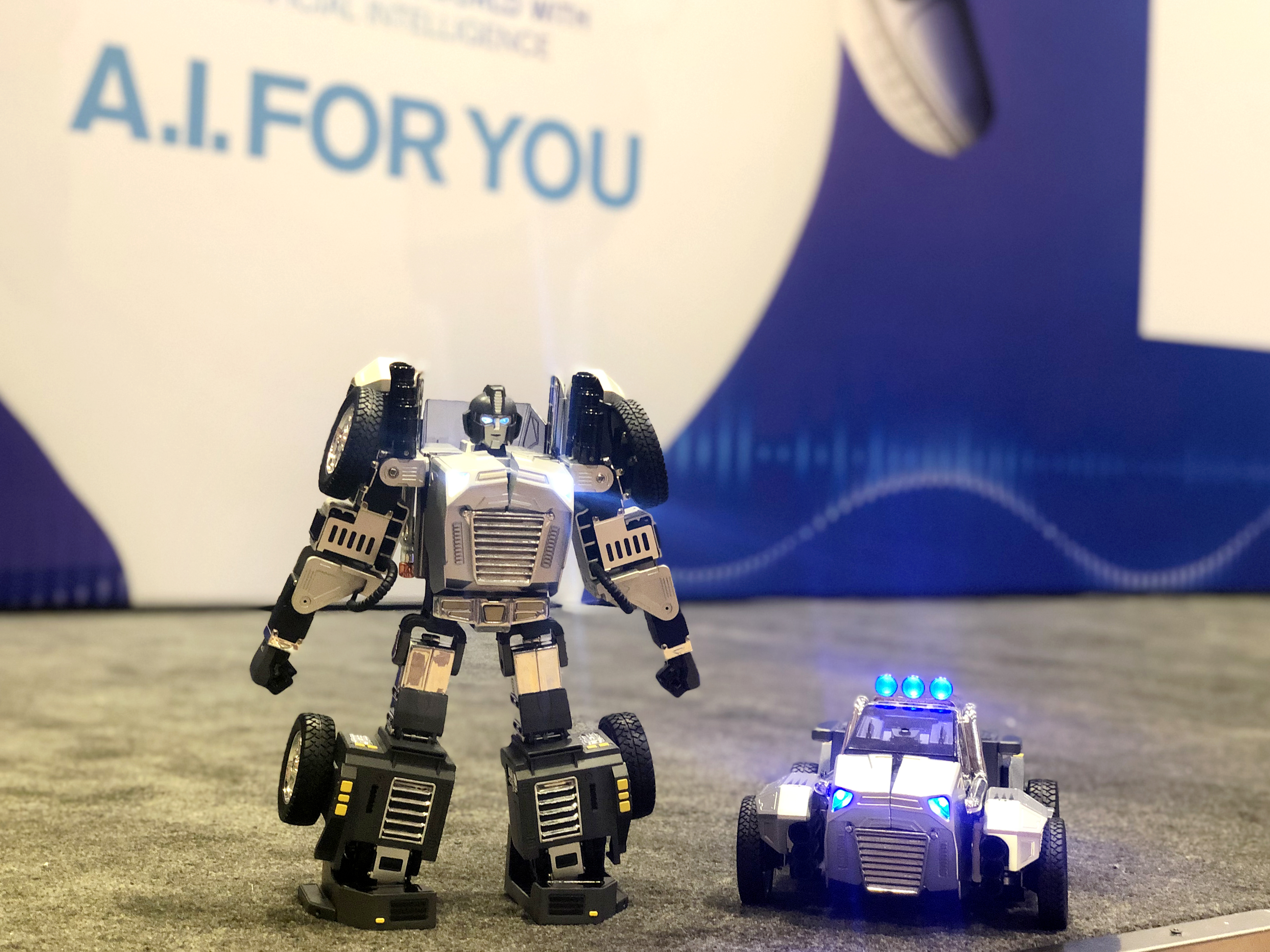 Voice-controlled robot can morph into a car that races around the room