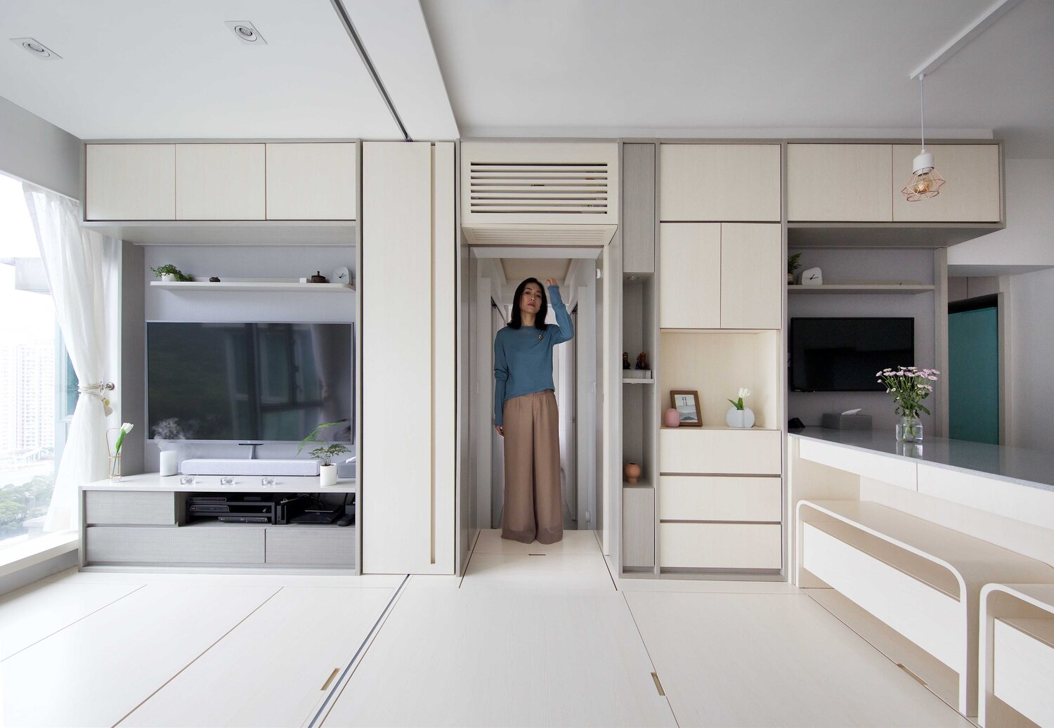Hong Kong micro apartment packs smart tech into transformable spaces