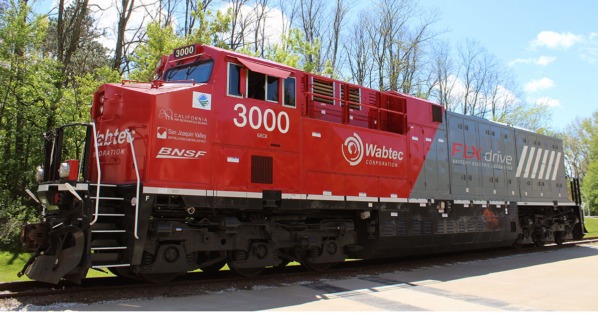 Wabtec's FLXDrive locomotive is described as the world's first 100-percent battery locomotive