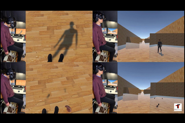 A user tries the system in two different modes – one in which the mirror reflection of their avatar shows its whole body, and one in which only its hands and feet are visible