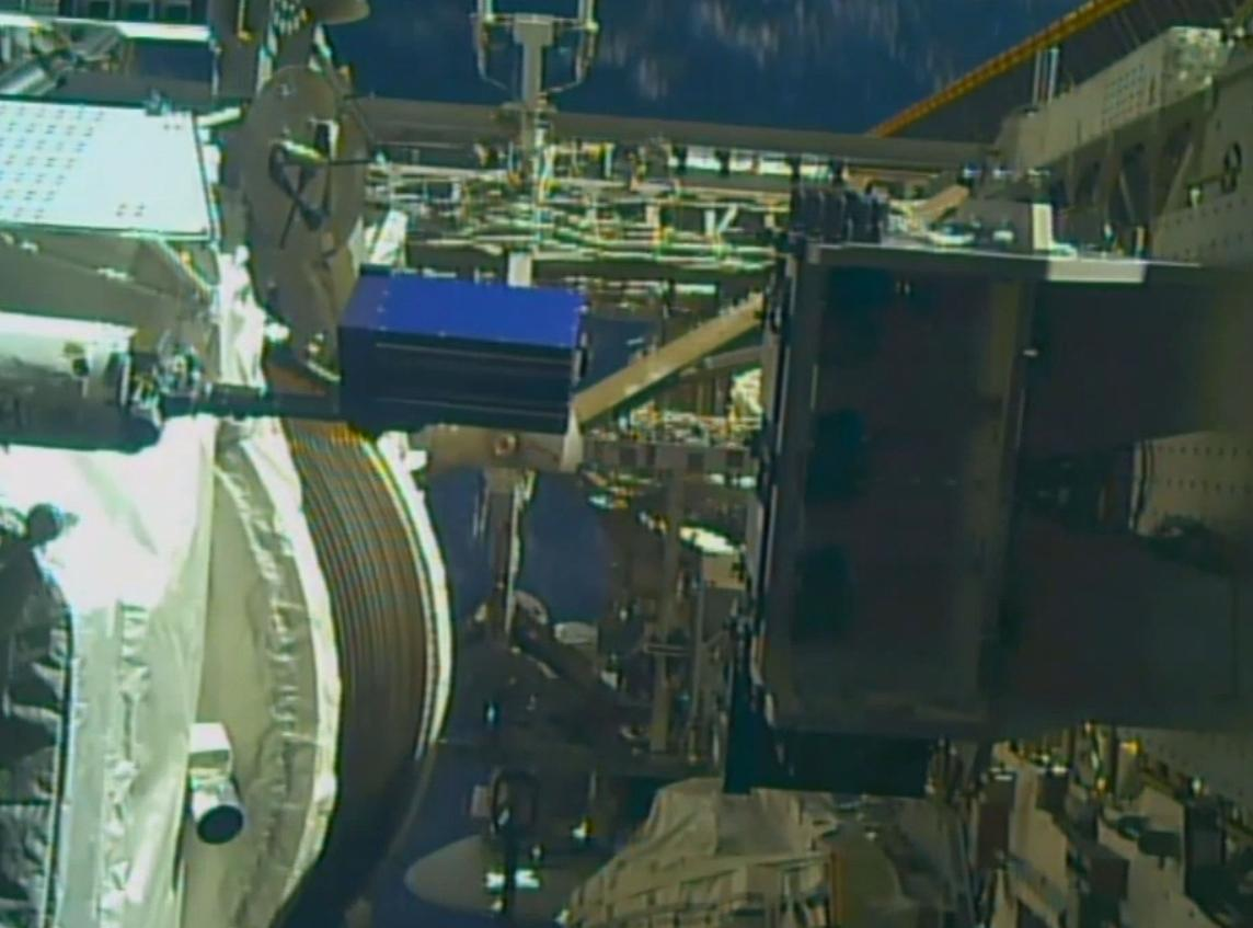 Pills will be placed in Alpha Space's Materials International Space Station Experiment (blue box) outside the ISS