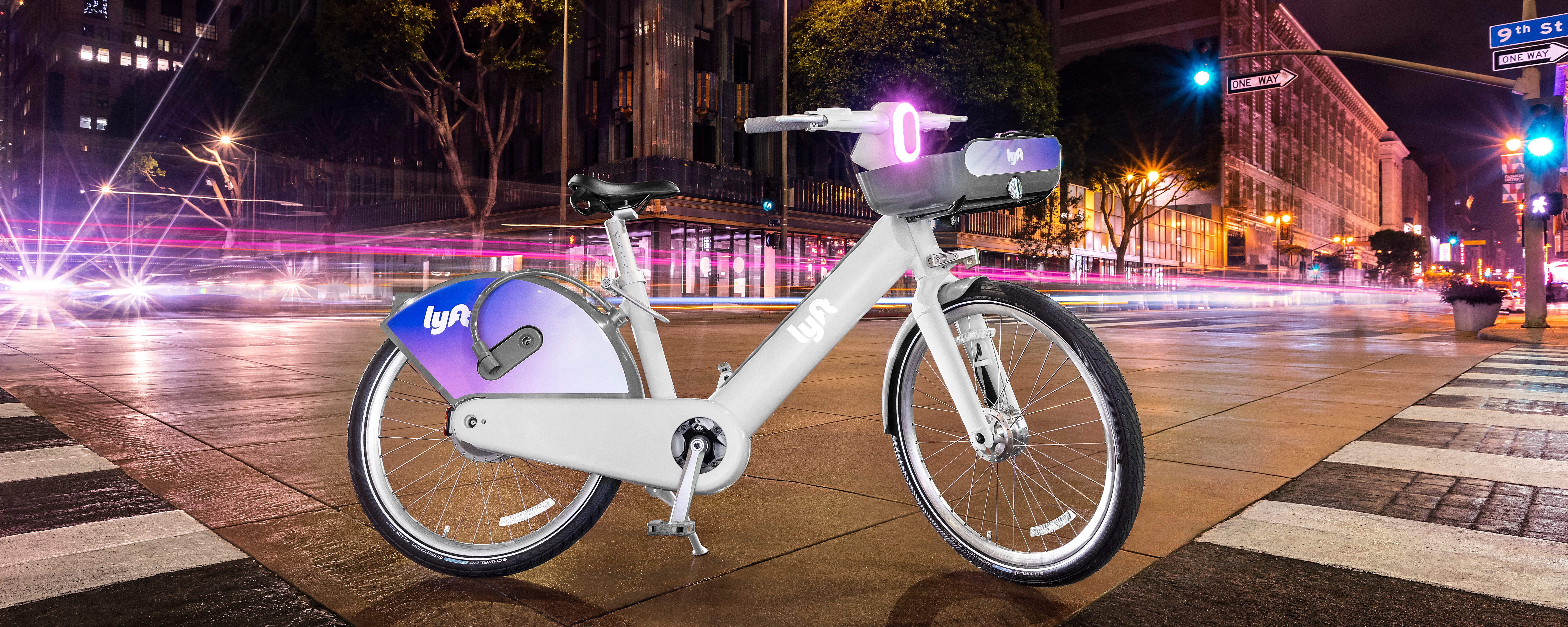 Designed to be seen, the new Lyft ebike has been given a retroreflective paint job and various lighting effects