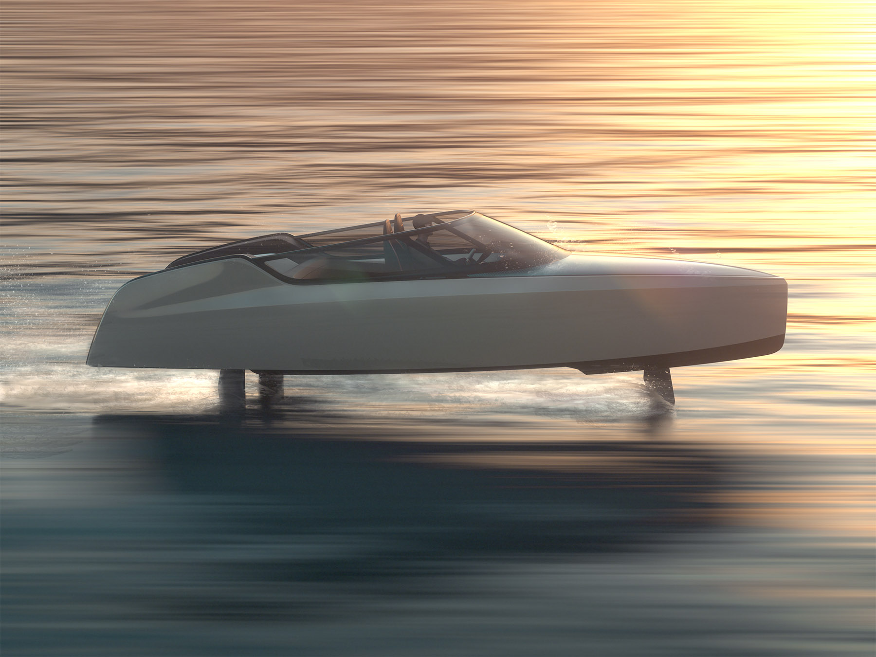 A rendering of the Edorado 8S in hydrofoil mode – a working prototype was unveiled this month