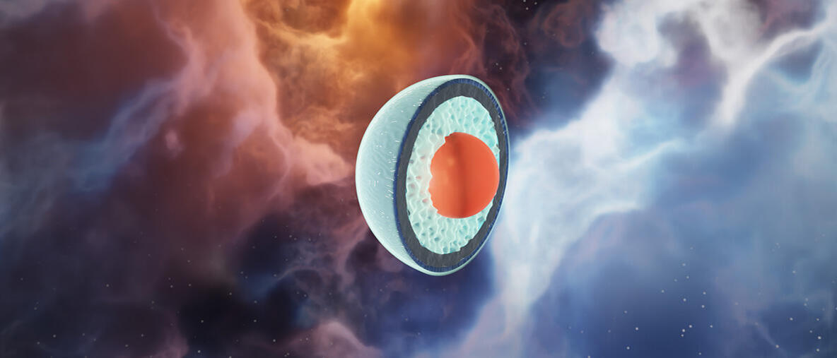 An artist's concept of the layers of a neutron star, including the quark core