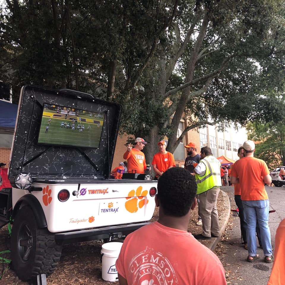 Tiny Tentrax trailer goes tailgating outside the game or civilization