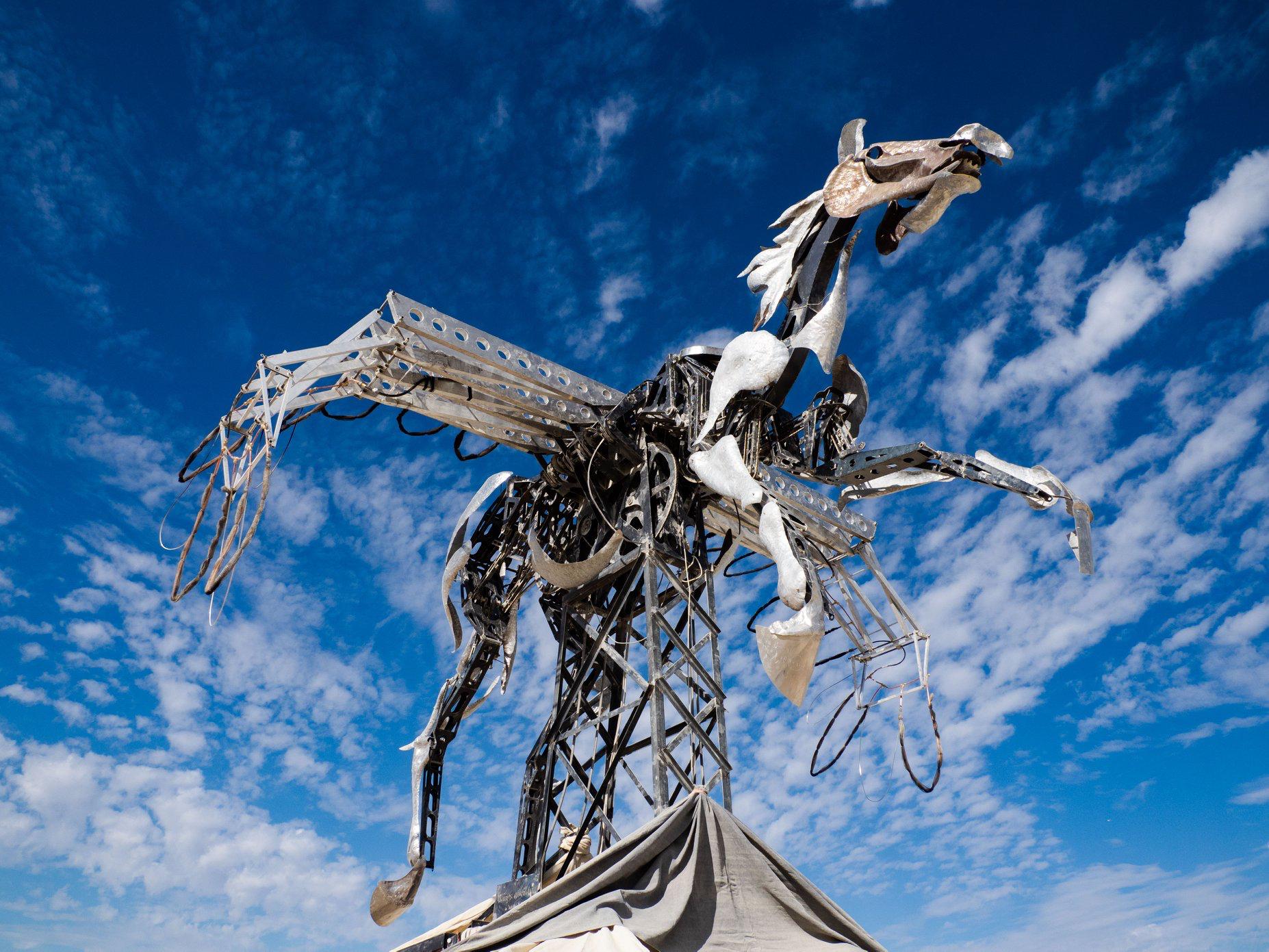 Flying, flaming horse rides high at Burning Man