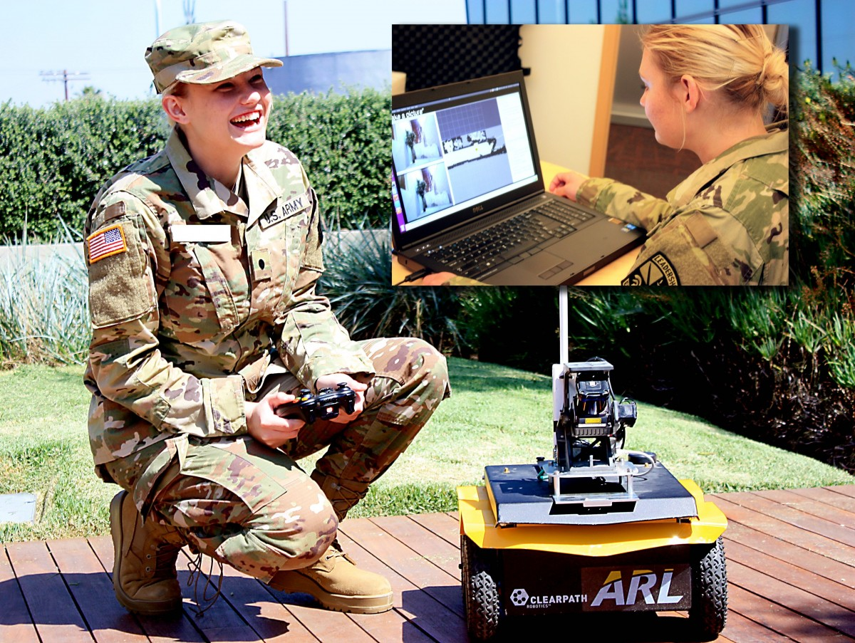 A US Army cadet and ARL West intern assists with research on JUDI