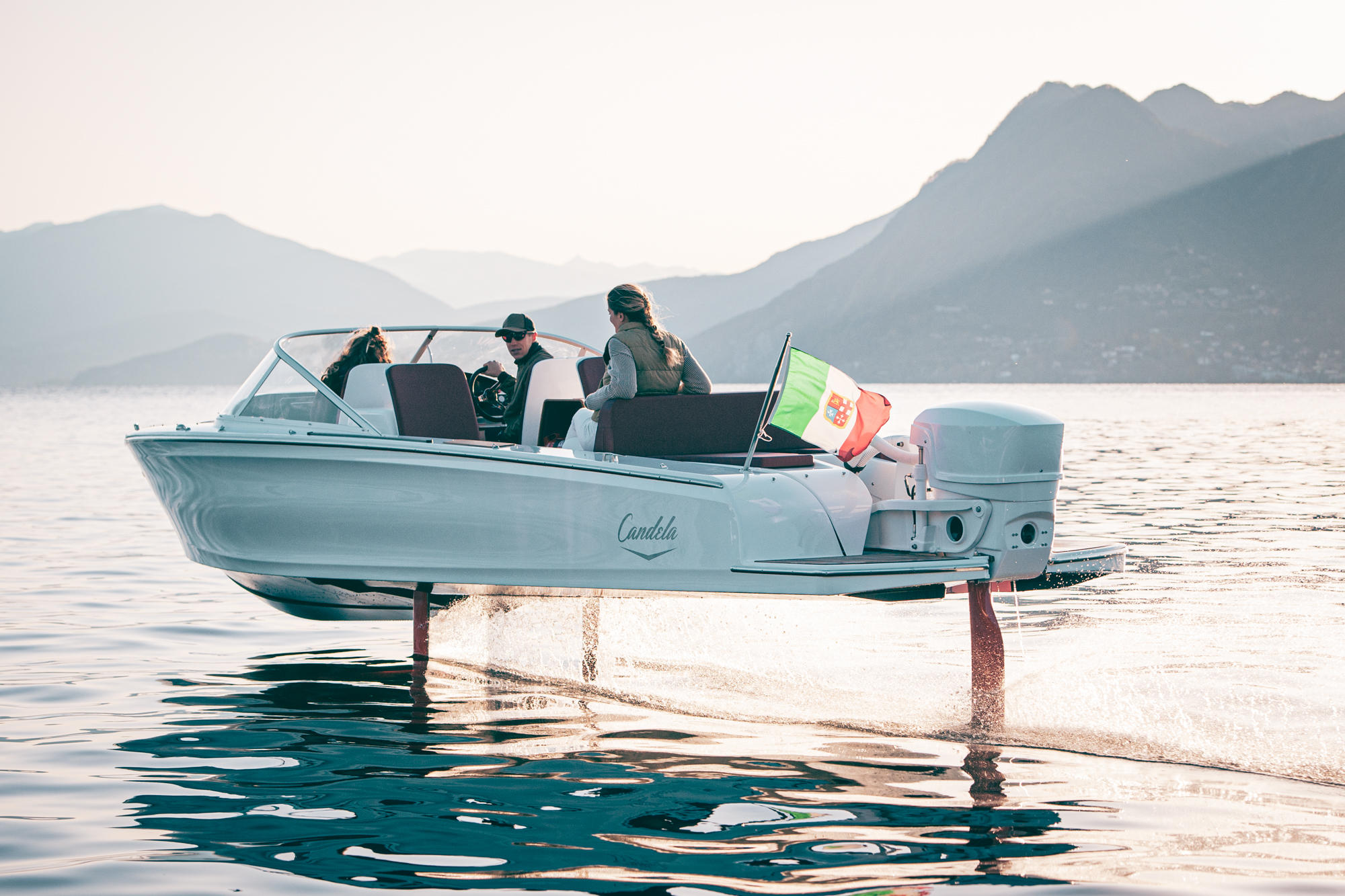 The hydrofoil system cuts drag by up to 80 percent, helping the C-7 squeeze out three times more range than other electric boats