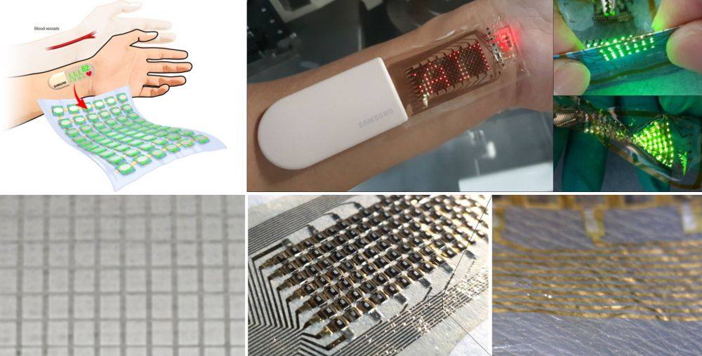 Samsung says the research is the first in the industry to prove the commercialization potential of stretchable health-monitoring devicesTop row: the Samsung SAIT prototype health-monitoring wearable;Bottom row: The OLED array and electrodes are arranged in an island structure to relieve stress during a stretch