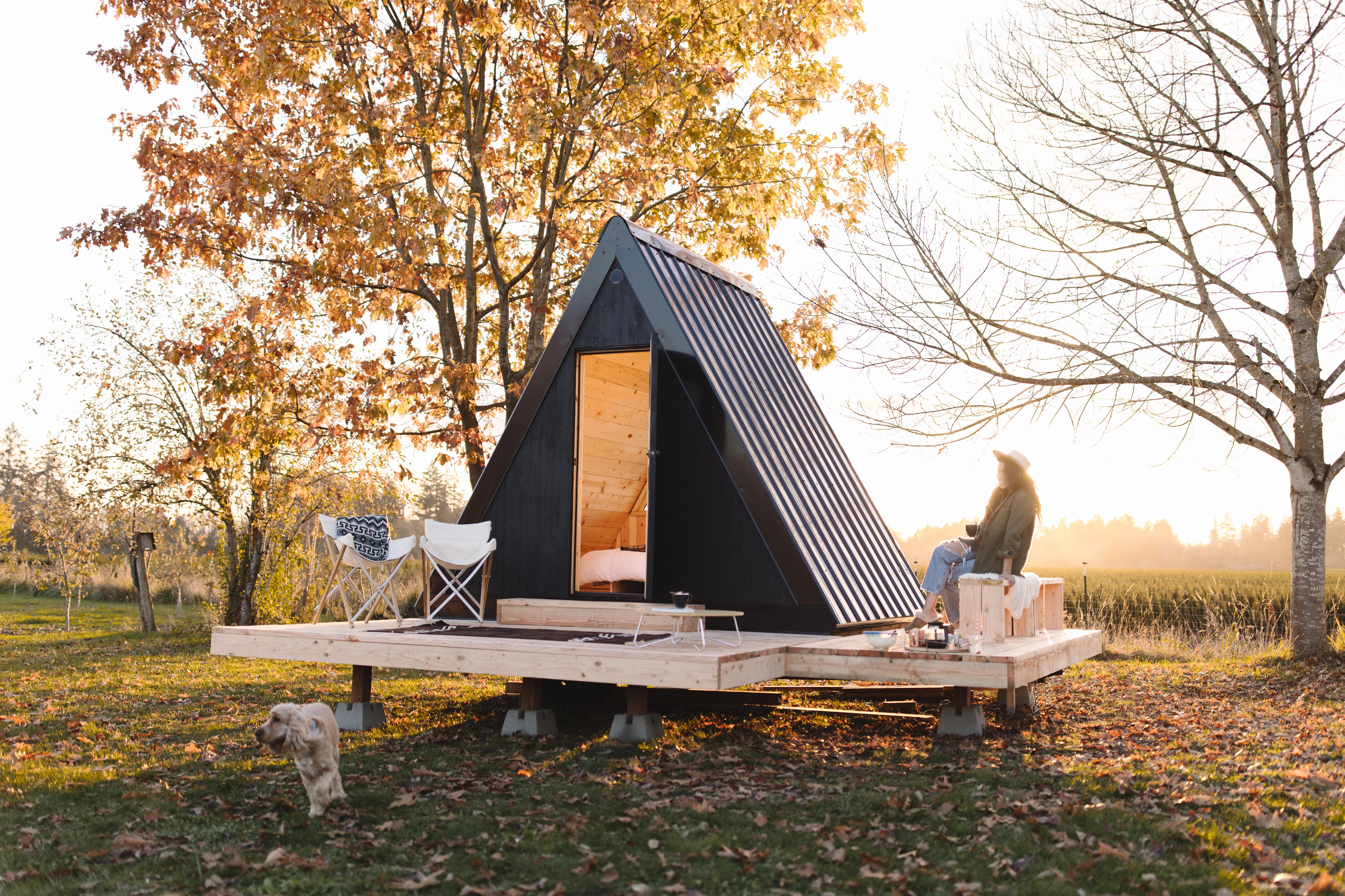 The Bivvi Cabin's optional extras include a small deck area