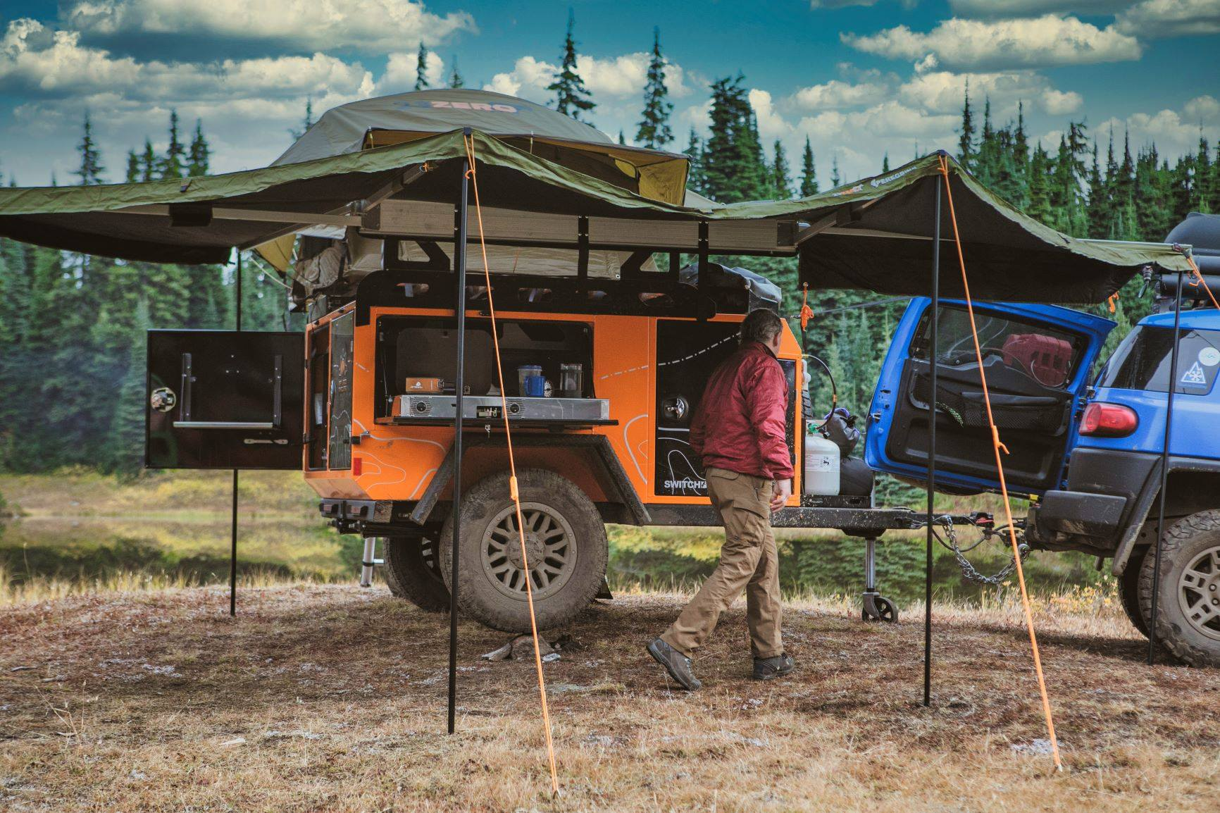 The Off Grid Switchback S offers a drop-down side kitchen with dual-burner stove and available sink