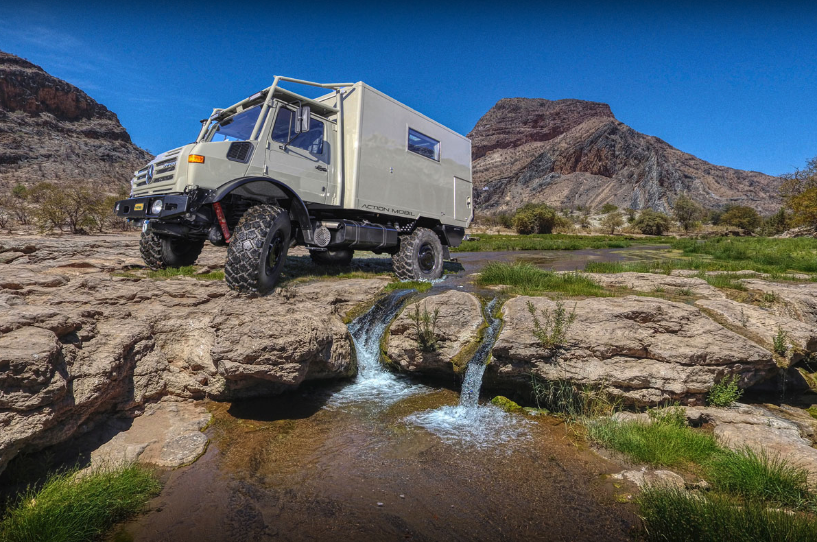 "This mud-hungry Unimog all-terrain motorhome is how Action Mobil does ""small"""