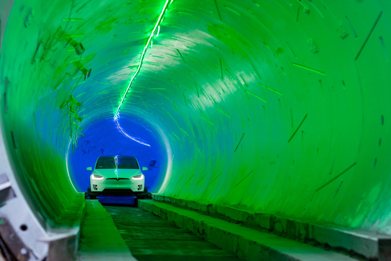 A look inside an earlier test tunnel built by The Boring Company