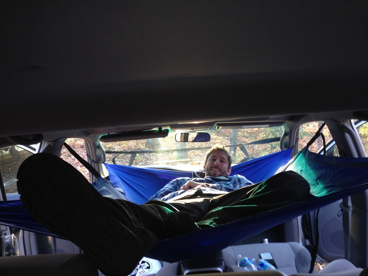Car Hammock turns your automobile into a suspended camping lounge
