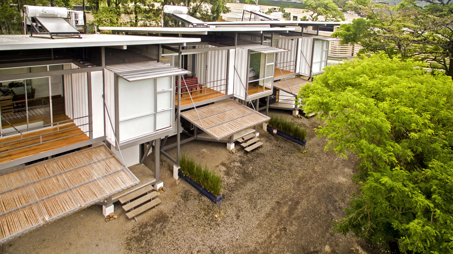 Used shipping containers turned into passively-cooled homes