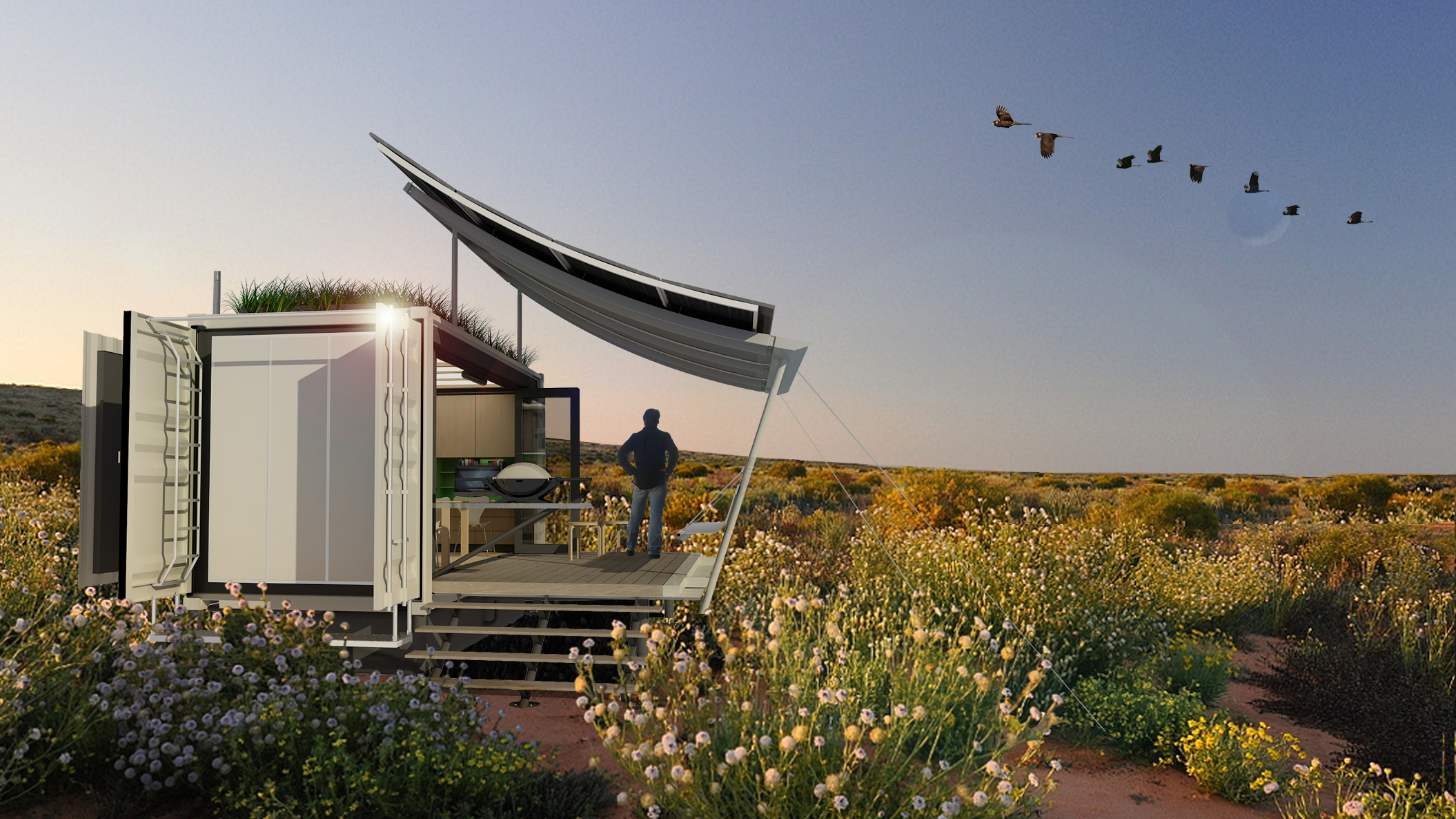 G-pod unveils expandable shipping container-based off-grid home