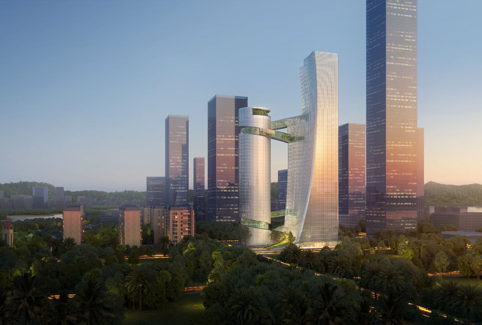 Pair of Shenzhen skyscrapers will be joined by greenery-filled bridges