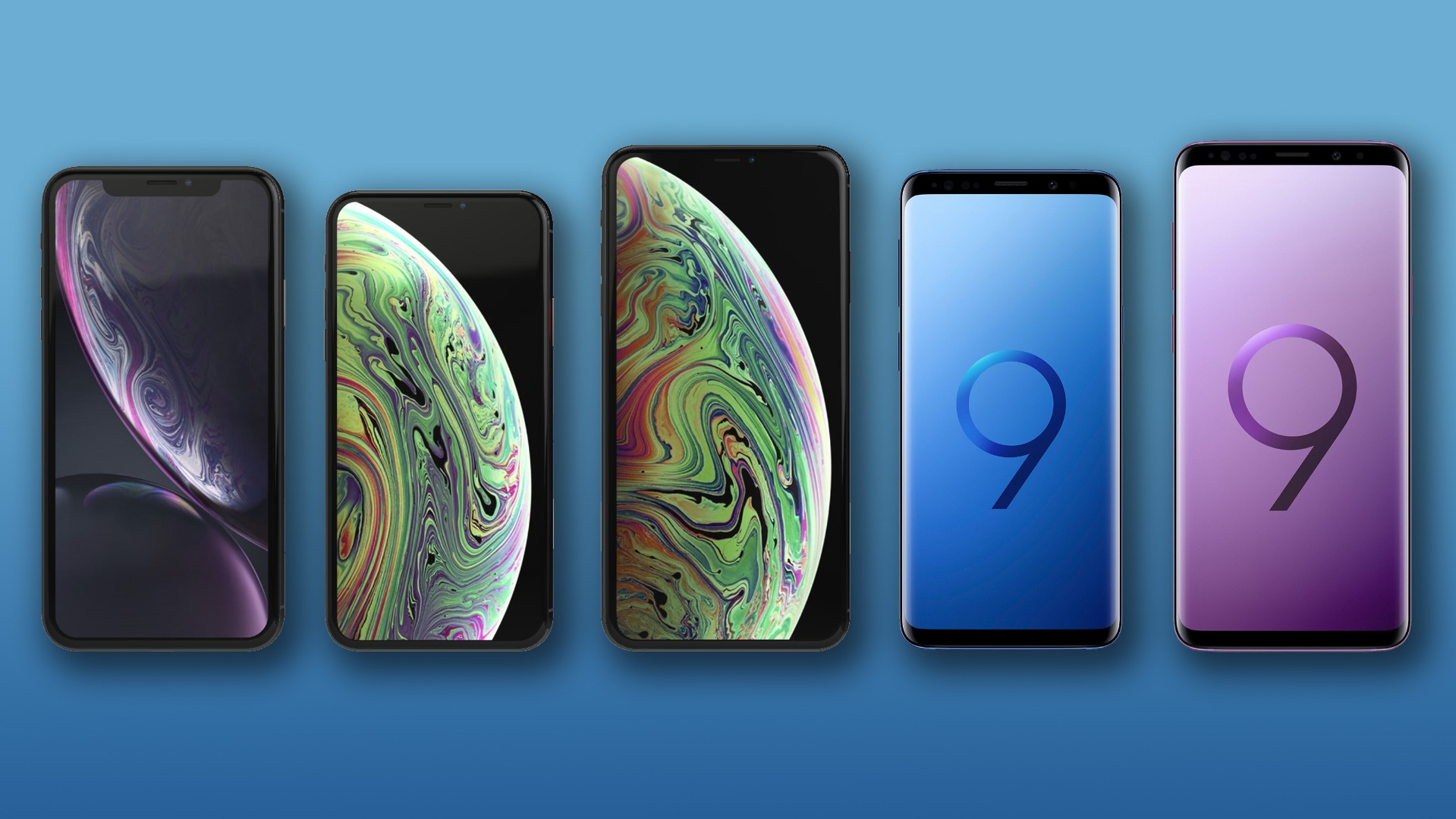 iPhone XR, XS and XS Max vs  Samsung Galaxy S9 and S9+