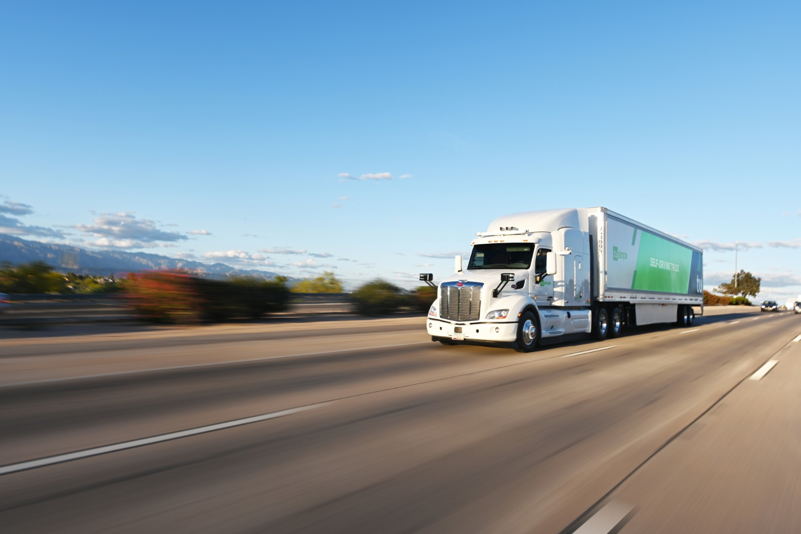 One of TuSimple's self-driving trucks in action