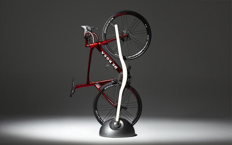 Space-saving bike rack doubles as stylish floor lamp