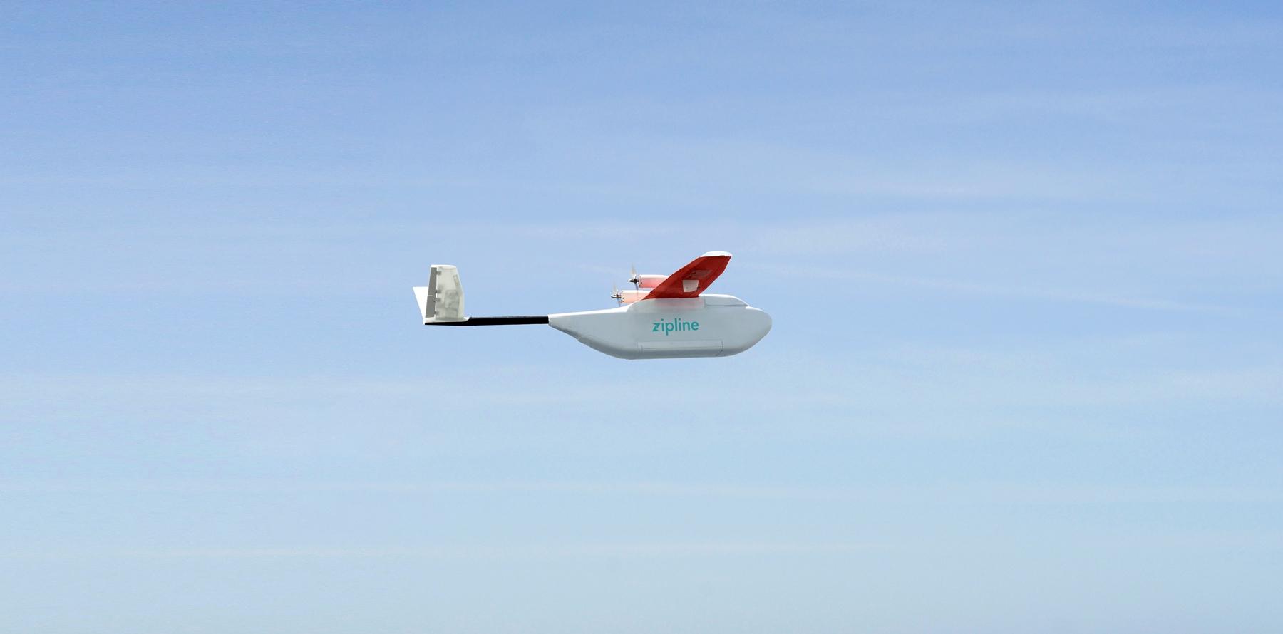 A Zipline drone in action