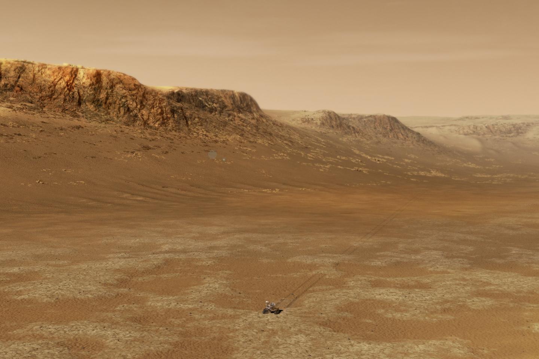 Artist's impression of NASA's Perseverance rover exploring Jezero Crater