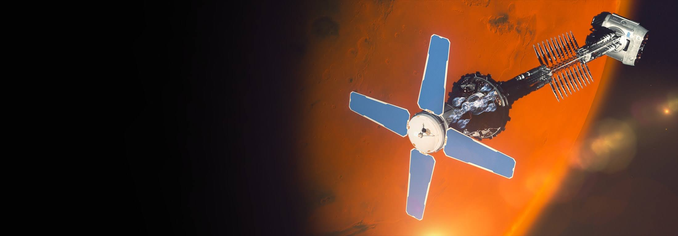 Artist's concept of a spacecraft over Mars utilizing nuclear power