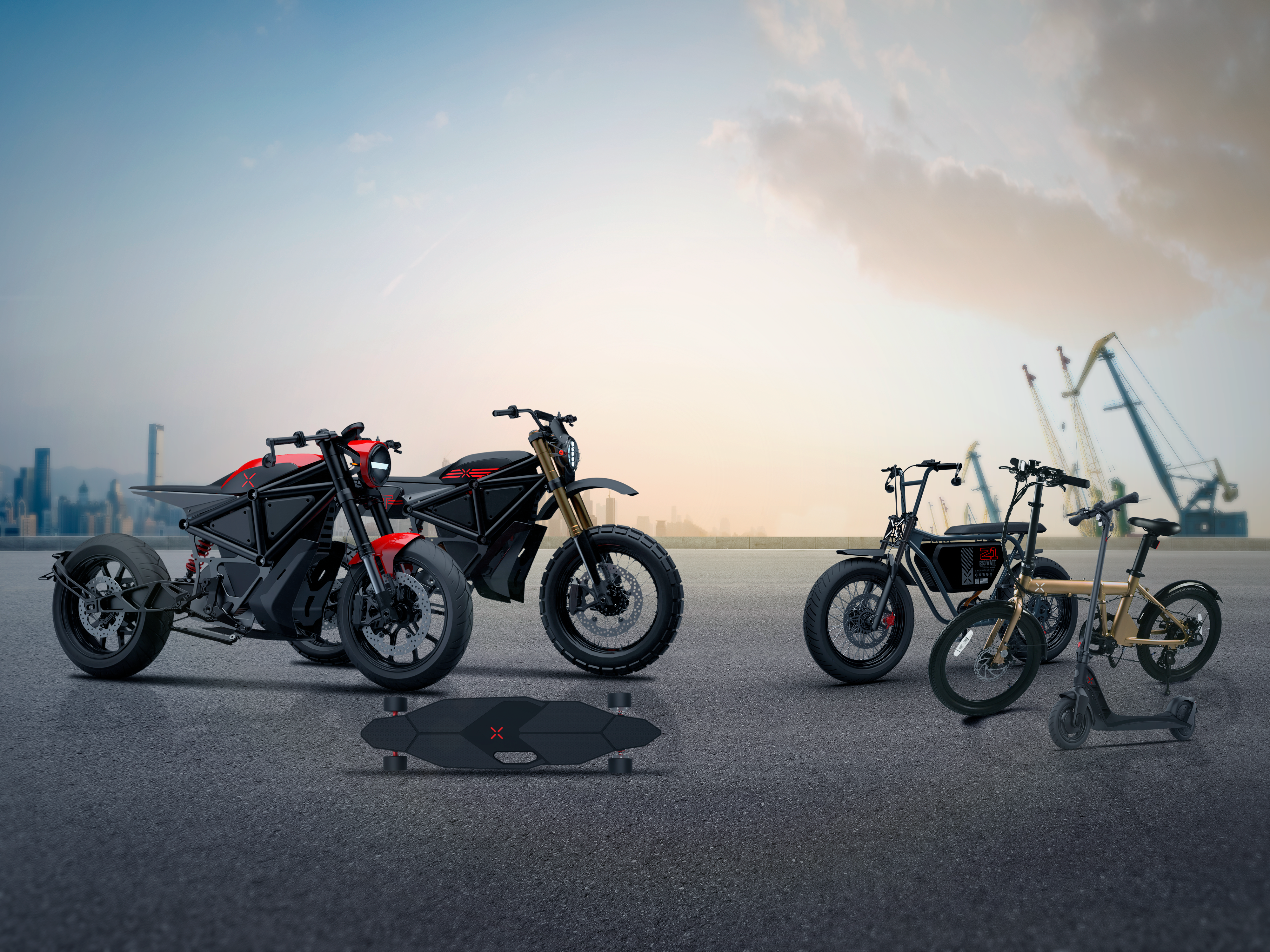 X Mobility Motors' electric roadmap includes a skateboard, kickscooter, folding ebike, a moped and two motorcycles