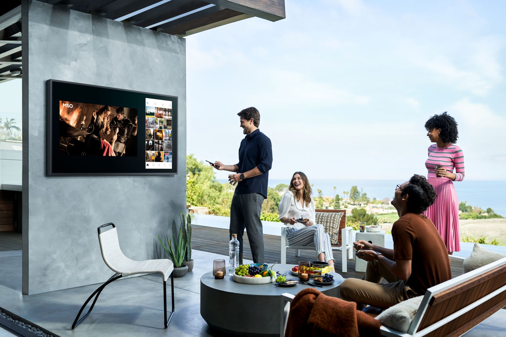 With Samsung's Terrace TVs, you can host a movie party on the patio