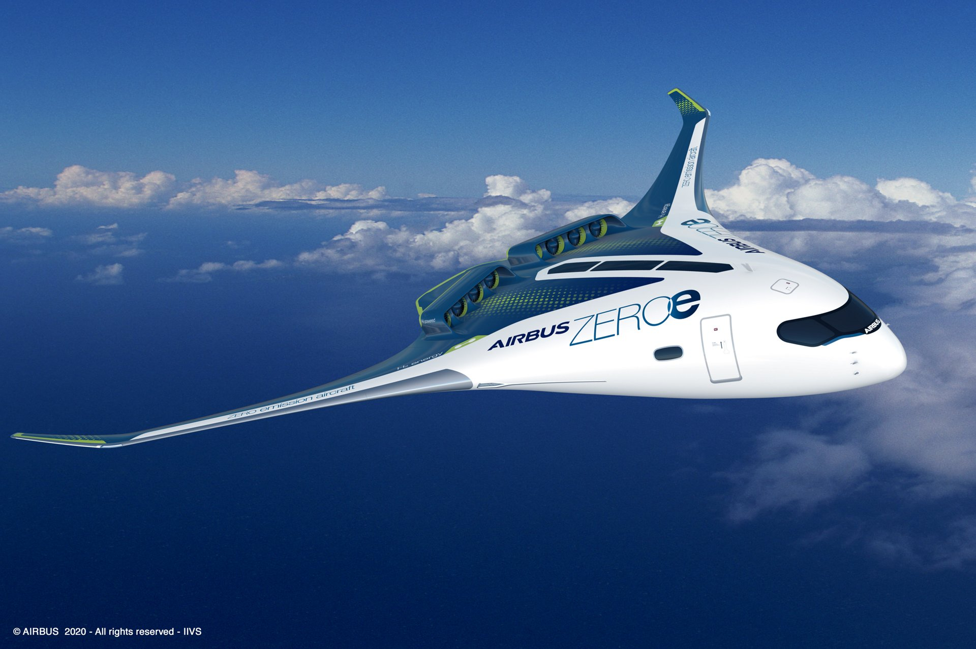 Airbus is working on a number of hydrogen-fueled clean aircraft, including this blended wing concept